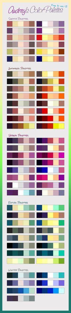 Audrey's Color PALETTES by SirWendigo - http://sirwendigo.deviantart.com/