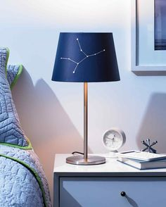 Stargazers -- or anyone looking to give her room lighting a dreamier dimension -- will love this easy decorating trick. All you need is a few crafting tools and an inexpensive white lampshade. Flick on the switch come nightfall and enjoy the customized twinkle that gleams through.