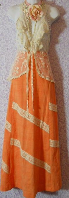 orange maxi skirt  cream lace  crinkle cotton cheescloth Apricot peach maxi small  from vintage opulence on Etsy. $ 40.00, via Etsy.