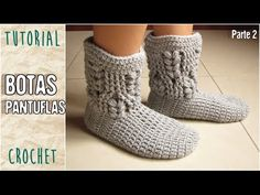 Pantuflas a crochet, todos los talles (Parte 3/3) - YouTube