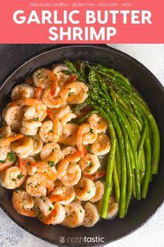 Garlic Butter Shrimp recipe that's quick, easy, healthy my Sauteed Shrimp recipe tastes fabulous!   keto shrimp   low carb shrimp   gluten free shrimp recipe   www.noshtastic.com Sauteed Shrimp Recipe, Buttered Shrimp Recipe, Garlic Butter Shrimp, Garlic Parmesan Shrimp, Low Carb Shrimp Recipes, Seafood Recipes, Diet Recipes, Healthy Recipes, Party Recipes
