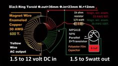 """A very simple inverter circuit and How to Make a Toroid Transformer. This Efficient joule thief can take as little voltage or """"AA Battery"""" to Boost. Diy Electronics, Electronics Projects, Joule Thief, Energy Crisis, Nicolas Tesla, Ham Radio Antenna, Circuit Projects, Emergency Lighting, How To Make Diy"""