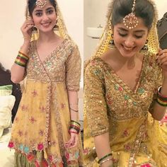 Mehndi dress for bride Pakistani Couture, Pakistani Wedding Dresses, Pakistani Outfits, Indian Outfits, Shadi Dresses, Mehendi Outfits, Pakistan Fashion, Desi Clothes, Types Of Dresses
