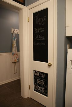 Pantry door with chalkboard paint on it.
