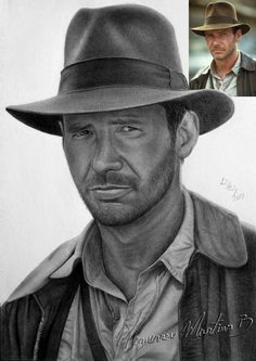 """""""Harrison Ford as Indiana Jones"""" - Drawing by Hemerson05"""