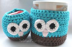 Apple and Mug Owl Cozies Set of 2 by HeloiseVCrochet on Etsy,