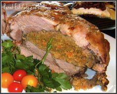 Pernil Estofado con Mofongo (Roast Pork Stuffed with Green Mashed Plantains)