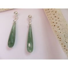 Green Aventurine earrings, Sterling Silver posts, Dangle studs,... ($75) ❤ liked on Polyvore featuring jewelry and earrings