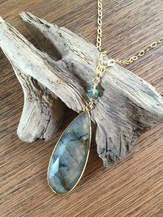 Labradorite necklace, labradorite pendant, long gold necklace, stone necklace, stone pendant by TresDesignsJewelry on Etsy