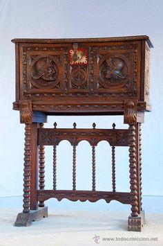 Bargueño de madera de talla excelente / Muebles antiguos en todocoleccion