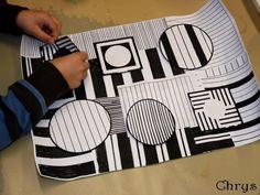 Selon Vasarely : Ne pas dépasser de la feuille + notions lignes horizontales et verticales