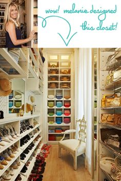 Super organized closet. Shelves for hats and purses, racks for shoes, and cubbies for folded items. I love how the clothes are grouped by color. I'm happy to see that I'm not the only one who groups like items and colors in their closet!
