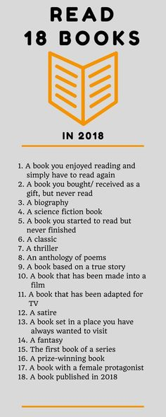 18 Books in 2018 - A Reading Challenge Challenge yourself to read 18 books in Here are ideas that I hope will inspire me, and you, my reader, to choose your next book. Books And Tea, Book Club Books, I Love Books, Book Nerd, Good Books, My Books, Love Reading, Reading Lists, Book Lists