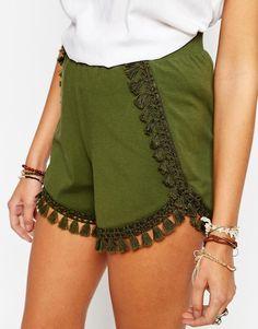 Image 3 ofASOS Jersey Shorts with Tassles
