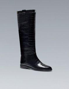 FLACHE STIEFEL KROKODIL - Schuhe - Damen - ZARA