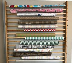 Wrapping Paper Station, Wrapping Paper Holder, Wrapping Paper Organization, Sewing Room Organization, Craft Room Storage, Craft Rooms, Organization Station, Organisation Ideas, Vinyl Storage