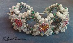 Crystal Beadwoven X's Bracelet by CJewelCreations on Etsy, $35.00