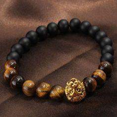 Lion Head Bracelet, Tiger Eye Stone Bracelet, Matte Plastic Beads Bracelet