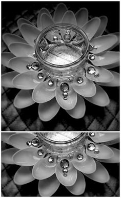 Glass jar idea with plastic spoons.     http://lifebyedith.blogspot.co.uk/