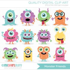 Monster Friends Clip Art / Digital Clipart  by MyClipArtStore, $5.00