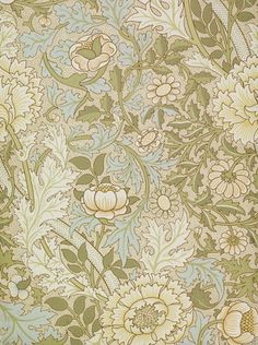 William Morris pattern/ illustration. more dense forms than earlier work and he looks at how to repeat patterns in a more dense way.  and his shapes are more flat than earlier patterns but increases detail
