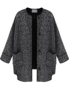Abrigo tweed bolsillos manga larga-Negro EUR€28.70