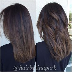 "77 Me gusta, 3 comentarios - Tina Park (@hairbytinapark) en Instagram: ""Straight vs. curled dimensional Balayage """