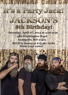 Duck Dynasty Birthday Party Invitation - Digital File