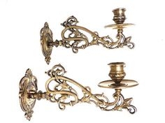 Pair Vintage Solid Brass Victorian Piano Candelabra / by AllPicked