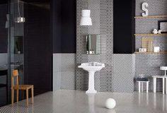 carrelage salle de bain noir et blanc très classe à motifs divers minuscules