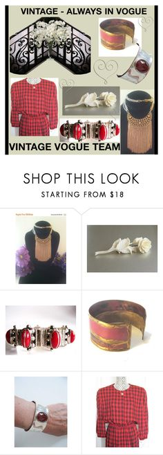 """VINTAGE - ALWAYS IN VOGUE"" by lunasvintagedesigns ❤ liked on Polyvore featuring Hanover Floral and vintage"