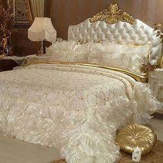 Bed fit for a Queen. Serene Bedroom, Gold Bedroom, Beautiful Bedrooms, Dream Bedroom, Master Bedroom, Beautiful Beds, Bedroom Inspo, Beautiful Things, Bedroom Ideas