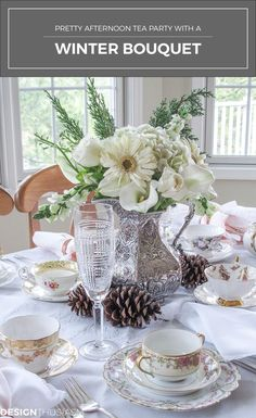 An afternoon tea party is a delightful way to celebrate a winter afternoon. Here are tips to help you set a pretty table with a winter bouquet | #Designthusiasm