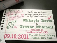 School of Love  Wedding Invitations - School Themed, High School Sweethearts, College Sweet Hearts, Notebook Themed DEPOSIT/SET UP. $50.00, via Etsy.