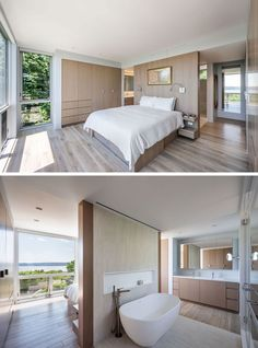 The Hudson River House by Resolution: 4 Architecture : This modern master suite has the bed positioned to take advantage of the views, and an open bathroom with a freestanding bathtub and a walk-in shower. Master Bedroom Layout, Master Bedroom Bathroom, Modern Master Bedroom, Master Room, Modern Bedroom Design, Bedroom Layouts, Home Decor Bedroom, En Suite Bedroom, Bedroom Designs
