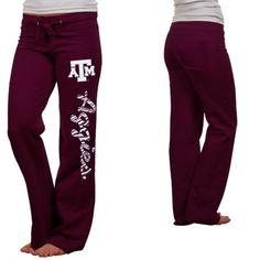 Texas A&M Aggies Ladies Animal Print Rugby Fleece Sweatpants - Maroon  Size medium