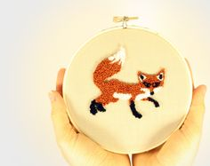 Fox Punch Needle Embroidery Hoop Art Home Decor Wall Hanging 5 inch hoop Woodland theme forest animal Under 35, via Etsy.