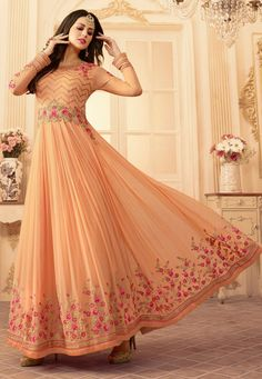Buy Peach georgette wedding wear salwar kameez in UK, USA and Canada Mehendi Outfits, Casual Dresses, Prom Dresses, Abaya Fashion, Fashion Dresses, Anarkali Suits, Salwar Kameez, Kurti, Wedding Wear