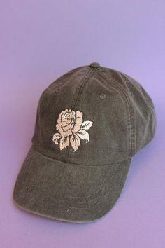 Rose Black Washed Baseball Cap