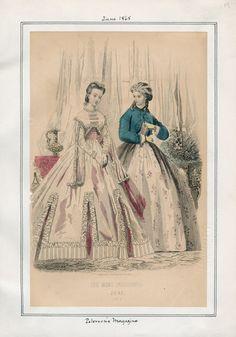 Les Modes Parisiennes. Peterson's Magazine, June 1865. LAPL Visual Collections.  Civil War Era Fashion Plate