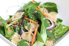 Dau Miu  Baby Shanghai Bok Choy Salad with Ginger Miso Dressing | www.jade88.com | This simple salad offers color with a touch of sweetness and crunch. #DauMiu #BokChoy #AsianGreens #PastaSalad