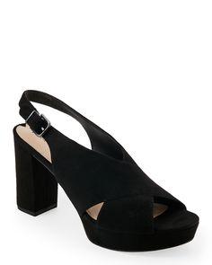 Via Spiga Black June Open Toe Block Heel Sandals