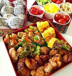 「息子の運動会お弁当♪」食べやすい!お野菜もたくさん!子どもも喜ぶ!そして彩りよく!のお弁当に挑戦♪【楽天レシピ】 Lunch Recipes, Healthy Recipes, Japanese Lunch, Japanese Food, Breakfast Lunch Dinner, Recipes From Heaven, Aesthetic Food, Food Presentation, I Love Food