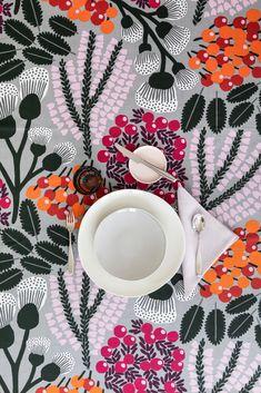 Kangasmetsä Tablecloth   Pentik Autumn 2019   Designed by Liina Harju, Kangasmetsä pattern is like a brisk autumn day in Finnish forest.