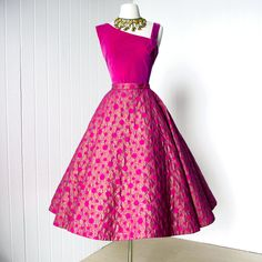 vintage 1950s dress ...gorgeous ALEX COLMAN pink and gold screened 2pc velvet asymmetrical top & full circle skirt cocktail party dress l. $390.00, via traven7