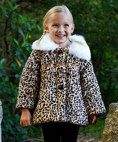 Look at this Tan Leopard Faux Fur Jacket - Toddler & Girls on #zulily today!