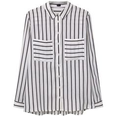 MANGO Striped Blouse (1.140 RUB) ❤ liked on Polyvore featuring tops, blouses, shirts, extra long sleeve shirts, striped blouse, long sleeve collar shirt, striped collared shirt and long sleeve blouse