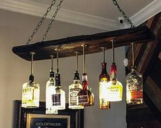 """Oversized Reclaimed Wood Wine Bottle Chandelier - Dining Room Lighting, Wine Bar Lighting - """" The Effective Pictures We Offer You About trends wedding A quality picture can tell you many t - Liquor Bottle Lights, Wine Bottle Chandelier, Liquor Bottle Crafts, Wine Bottles, Empty Liquor Bottles, Rectangular Chandelier, Bottle Bottle, Hanging Chandelier, Rustic Chandelier"""