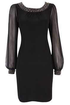 Black Embellished Long Sleeve Dress - Very Classy and Elegant Dress! Maybe in midnight blue for a weddingl Elegant Dresses, Pretty Dresses, Beautiful Dresses, Dress To Impress, Short Dresses, Dresses Dresses, Dance Dresses, Evening Dresses, Ideias Fashion
