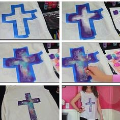 DIY galaxy cross shirt✌but maybe make it saying bff Vbs Crafts, Crafts For Teens, Crafts To Do, Diy Galaxie, Ty Dye, Galaxy Crafts, Sewing Projects, Craft Projects, Craft Ideas